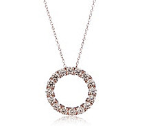 Diamonique 2.5ct tw Simulated Diamond Circle Pendant & Chain Sterling Silver - 318682