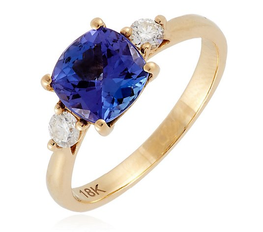 1.75ct AAAA Tanzanite & 0.20ct Diamond 3 Stone Ring 18ct Gold