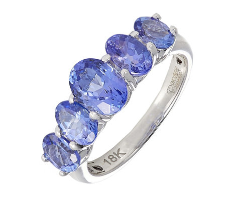 2.35ct AAA Tanzanite Oval Graduated 5 Stone Ring 18ct Gold