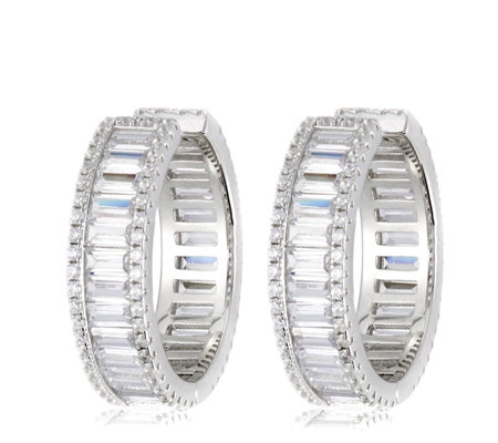 Michelle Mone for Diamonique 7ct tw Mixed Cut Hoop Earrings Sterling Silver