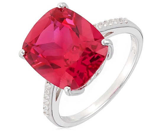 Diamonique 9ct tw Simulated Ruby Ring Sterling Silver