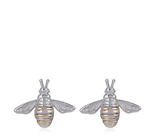 Clogau Honey Bee Stud Earrings Sterling Silver & 9ct Rose Gold