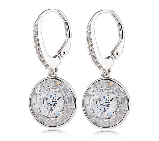 Diamonique Vintage Style 3.5ct tw Round Leverback Earrings Sterling Silver
