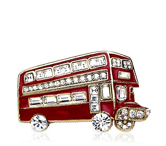Butler & Wilson Double Decker Bus with Crystal Wheel Brooch