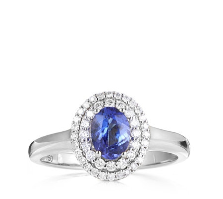 0.70ct AAAA Tanzanite & 0.25ct Diamond Solitaire Ring 18ct Gold