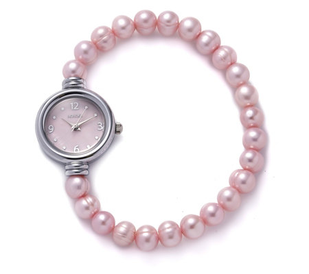 Honora 7-8mm Cultured Pearl Stretch Bracelet Watch Stainless Steel