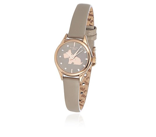 Radley London Metallic Dog Crystal & Leather Strap Ladies Watch