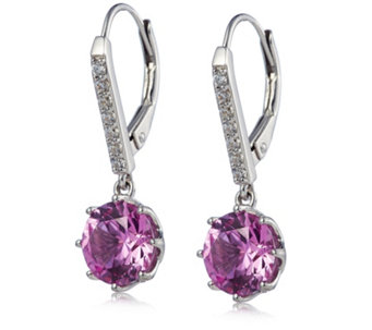 051c7b55035c Diamonique 4ct tw 8 Prong Simulated Gemstone Leverback Earrings Sterling  Silver - 340983