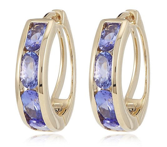1.75ct AA Tanzanite Huggie Hoop Earrings 18ct Gold