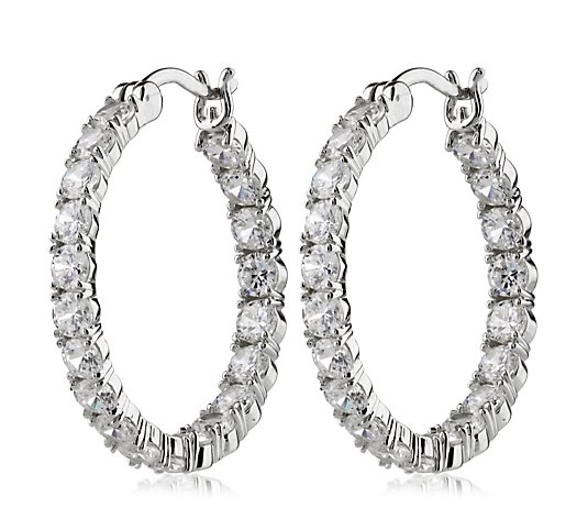 Diamonique 4.6ct tw Round Cut Hoop Earring Sterling Silver