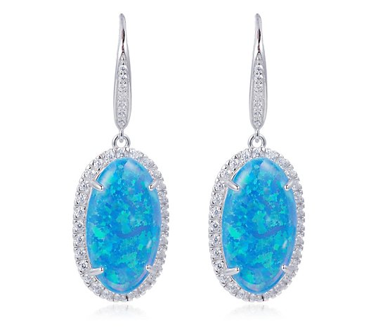 Diamonique 0.7ct wt Simulated Opal Leverback Earrings Sterling Silver