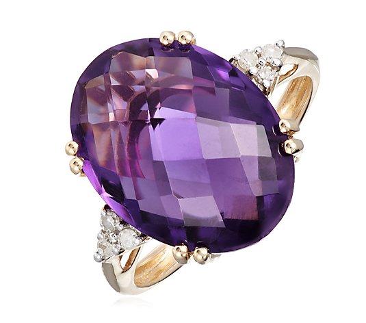 6.75ct Amethyst Diamond Accent Solitaire Cocktail Ring 9ct Yellow Gold