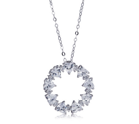 Michelle Mone for Diamonique 4.8ct tw Circle Pendant & Chain Sterling Silver