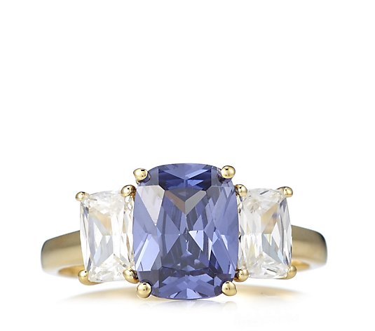 Diamonique 3.5ct tw Simulated Tanzanite 3 Stone Ring Sterling Silver