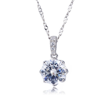 Diamonique 2ct tw 8 Prong Simulated Gemstone Pendant & Chain Sterling Silver
