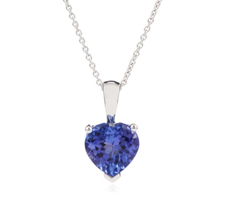 1.80ct AAA Tanzanite Heart Pendant & 45cm Chain 18ct Gold