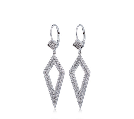 Diamonique 1ct tw Kite Cut Out Drop Earrings Sterling Silver