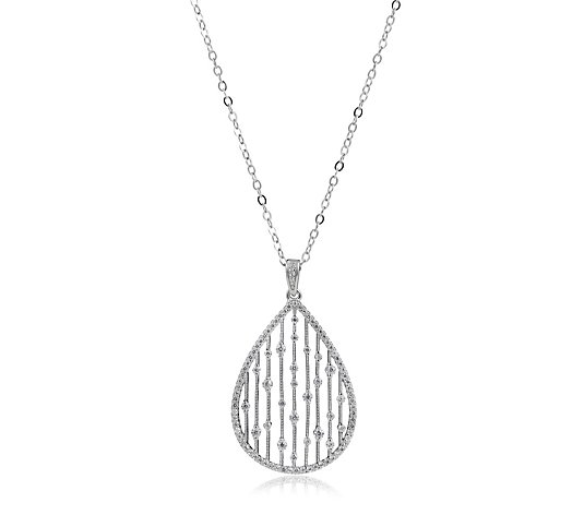 Diamonique 0.7ct tw Teardrop Pendant & 45cm Chain Sterling Silver