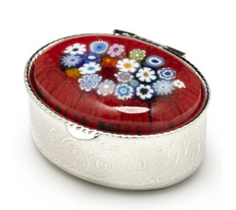 Murano Glass Millefiori Large Oval Pill Box - 307285