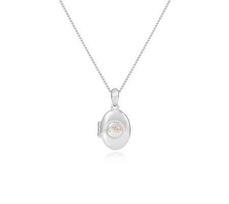 Clogau 9ct Rose Gold & Sterling Silver Cariad Bach Locket 45cm Necklace