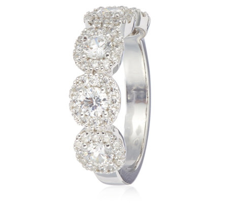 Diamonique 1.3ct tw Eternity Halo Ring Sterling Silver