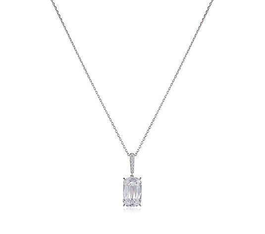 Diamonique 5ct tw Prism Cut Pendant & Chain Sterling Silver