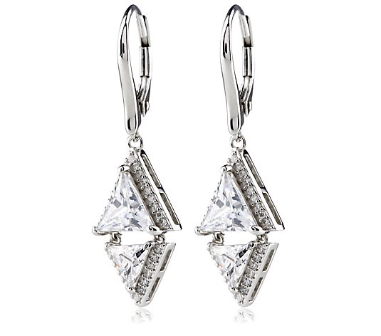 Diamonique 3.2ct tw Trillion Cut Leverback Earrings Sterling Silver