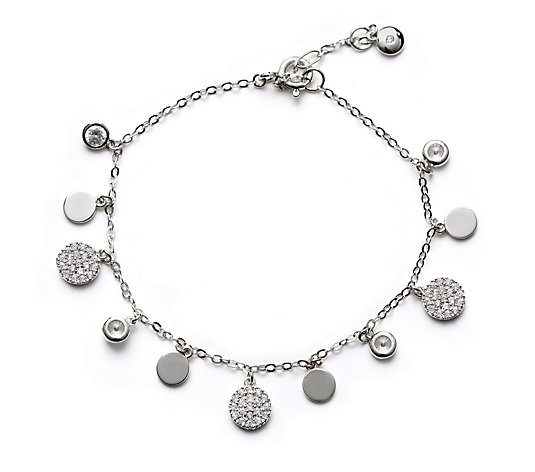 Escape by Melissa Odabash Pave Disc Bracelet Sterling Silver