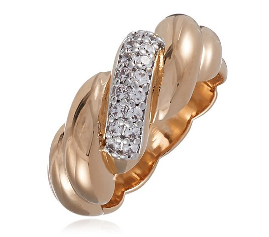 Bronzo Italia Wave Ring with CZ