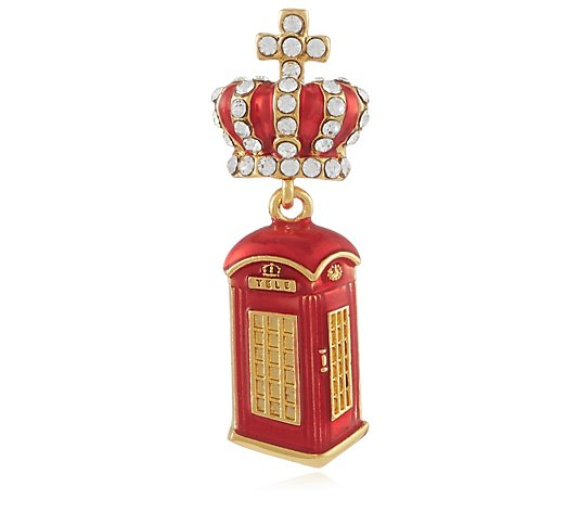 Butler & Wilson Crown and Telephone Box Clutch Pin Brooch