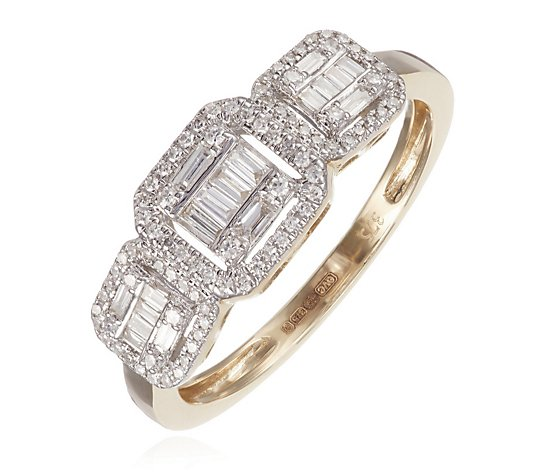 0.33ct Diamond Asscher Shape Halo Trilogy Ring 9ct Gold
