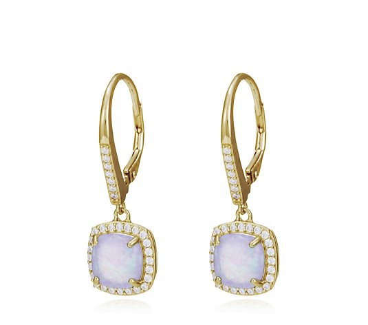 Diamonique Simulated Opal Halo Earrings Sterling Silver