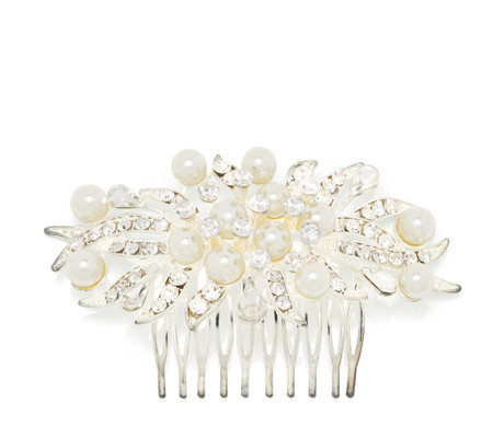 Loverocks Simulated Pearl & Crystal Hair Comb