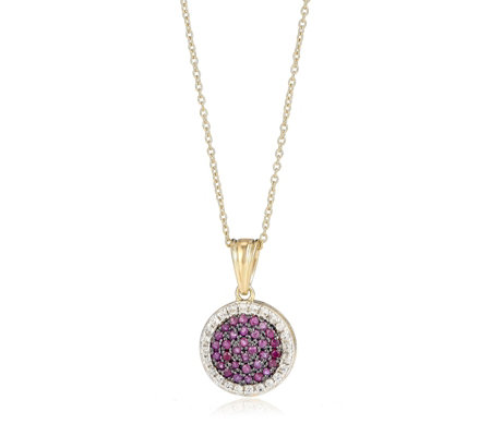 0.7ct Ruby Pave Pendant & 45cm Chain Sterling Silver