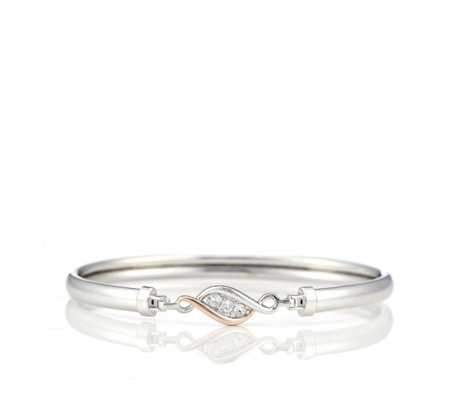 Clogau 9ct Rose Gold & Sterling Silver Past Present Future Bangle