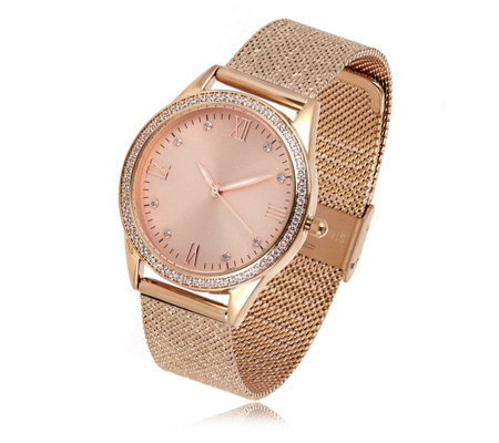 Diamonique 0.8ct tw Glitter Mesh Band Watch Stainless Steel