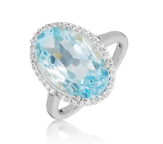 10.50ct Blue Topaz Star Cut Oval Halo Ring Sterling Silver