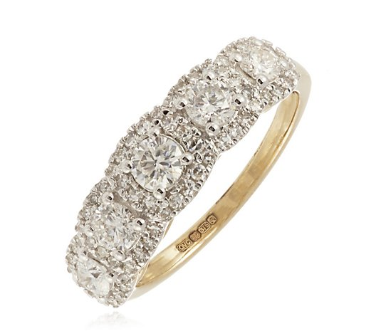 1.00ct Diamonds Halo Band Ring 9ct Gold