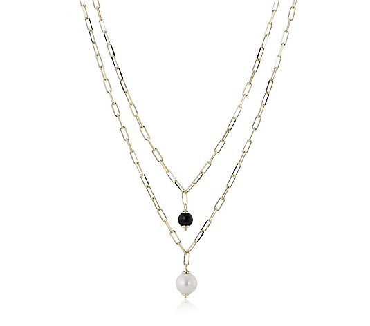 Bronzo Italia Set of 2 Diamond Cut Necklace Black Spinel & Ming Pearl