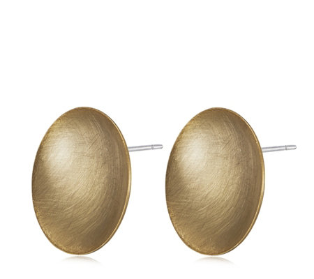 MarlaWynne Brushed Metal Concave Disc Earrings
