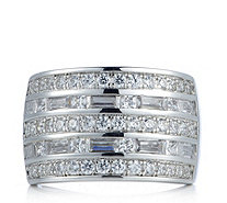 Diamonique 2.3ct tw Mixed Cut Wide Band Ring Sterling Silver - 331387