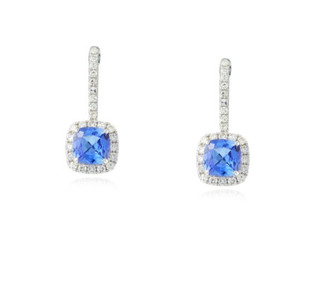 1.20ct AAA Tanzanite & 0.31ct Diamond Drop Earrings 18ct Gold