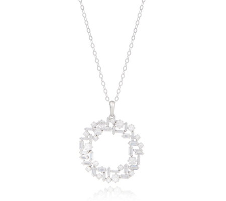 Diamonique 2.5ct tw Mixed Cut Pendant & Chain Sterling Silver