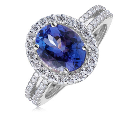 1.75ct AAA Tanzanite & 0.54ct Diamond Halo Ring 18ct Gold
