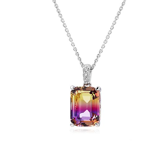 Diamonique 5ct tw Simulated Ametrine Pendant & Chain Sterling Silver