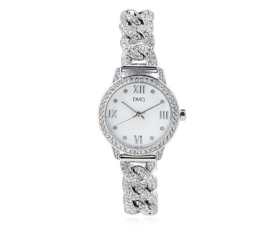 Diamonique 3ct tw Chain Link Bracelet Watch Stainless Steel
