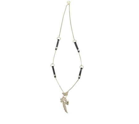 Bibi Bijoux Crystal Heart & Feather Charm Leather Station 80cm Necklace