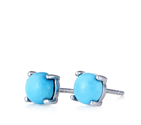 Sleeping Beauty Turquoise Round Stud Earrings Sterling Silver