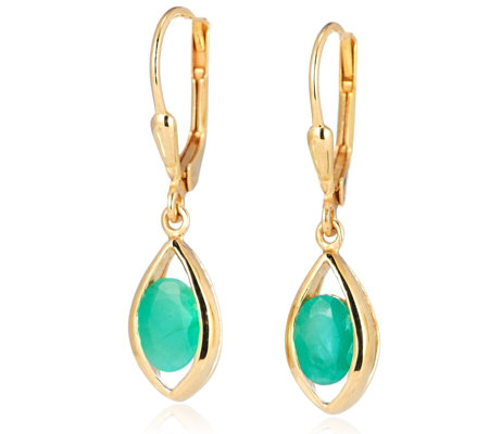 1.3ct Emerald Leverback Drop Earrings Sterling Silver
