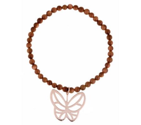 Lola Rose Butterfly Charm Stretch Bracelet - QVC UK